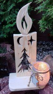 Weihnachtsdeko, Kerzen aus Holz, Teelichthalter, Natur Geschenk
