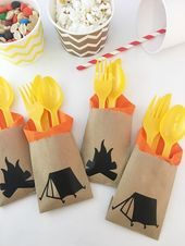 Cutlery Bags – Camping Party Decorations, Camping Birthday, Outdoor Party, Fishing Birthday, Camp Party, Woodland Baby, Lumberjack Party