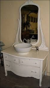 Photo of Side View - Antique Bathroom Vanity: Shabby Chic Princess Dresser  with Vessel Sink