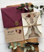 Laser Cut Pocket Wedding Invitation, Marsala Flora…