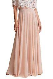Honey Qiao Chiffon Bridesmaid Dresses High Waist Long Woman Maxi Skirt – amber b