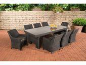 Sitzmöbel CP060 XL, Sitzgruppe, Poly-Rattan ~ Kissen anthrazit, schwarz   – Products