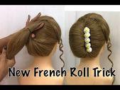 Französischer Brötchen-Frisur-Trick | Französische Rolle | Französische Twist Frisur | Französische Frisuren - YouTube