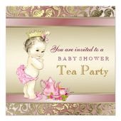 Elegant Pink and Gold Girls Tea Party Baby Shower Invitation | Zazzle.com – An invitation