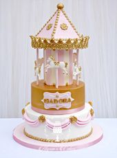 Girls birthday cake, carousel cake in pink and gold  #girlsbirthdaycake #carouse… – Girls Birthday Cakes