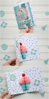 Lustige Geburtstagskarten basteln: Anleitung für eine tolle Pop-up-Karte # paper …   – Basteln