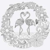Diseno De Zendoodle De Dos Flamencos Doblan Sus Cabezas En Forma De Corazon En Selva Flores Il Bird Coloring Pages Flamingo Coloring Page Animal Coloring Pages
