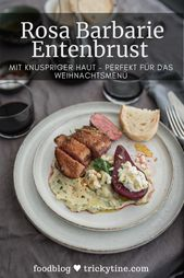 Pink Barbarie duck breast with crispy skin, parsnip mash, poached red wine pear with goat's cheese cream – trickytine
