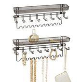 mDesign Wall Mount Hanging Accessory Storage Organizer, Graphite, 2.75″ x 15″ x 6.25″