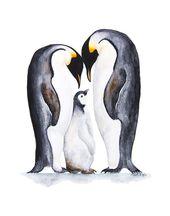 Penguin Print, Polar Nursery Decor, Penguin Watercolor Art, Black and White Painting, Arctic Animal Family, Emperor Penguin, Baby Room Decor