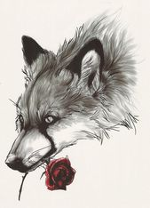 Big Gray Wolf & Rose Temporary Tattoo – Animal Spirit Wild Wolf And Red Rose Temporary Tattoo Costume Accessories Tattoos   – Products