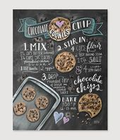 Choc Chip Cookie Recipe Print – Baking Wall Art – Cookie Recipe Art – Chocolate Chip Cookies – Baking Print – Kitchen Decor – Chocolate Chip