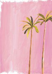 Palmen. Von David Hockney und Miami pink inspirierter Druck. A3-Druck verfügbar für … – color inspiration – #A3Druck #color #David #Druck #für