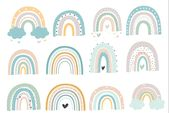 Baby Cards Happy Rainbows set , #ad, #elements#additional#wall#Great #AD