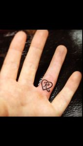 Initially tattooed daughter on wedding ring finger. For my Riley Rae. #anfan …