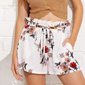 Womail  Women shorts Summer Print Casual Belt Loose Hot shorts Lady… – Products