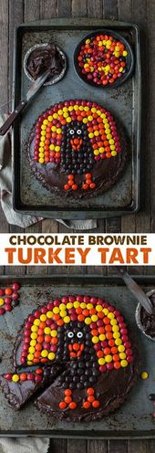 This chocolate brownie turkey tart is a fun Thanksgiving dessert! Ready in 1 hou…