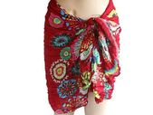 red Woman Sarong, Flower Cotton Sarong, Beach cover, beach Sarong, Swimsuit cove…
