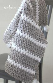 Schnelle und einfache Babydecke Bernat Moss Stitch   – Crochet So Many Goodies!