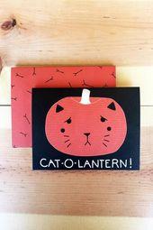 Cat-o-lantern Halloween Card, Cat Card, Cat Pumpkin Card, Cat-o-lantern Card, Cute Halloween Card, P