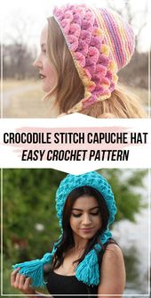 crochet Crocodile Stitch Capuche Hat pattern