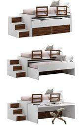 [pull-out bed] Suchen Sie nach einer einfachen Möglichkeit, Ihren begrenzten Lebensraum optimal zu nutzen? Wenn ja, liegt die Antwort in den # Möbeln, die in ein multifunktionales Ganzes eingebettet sind – #Schlafen, Arbeiten und Erholen – alles kann in einem Raum erledigt werden. – Zwei Betten – Schreibtisch – Schubladen #madeinitaly #Speicherbetten #Kinderzimmer