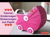 Baby Cards Tutorial: Kinderwagen Stubenwagen aus Papier Bastelanleitung Stampin Up! - YouTu...