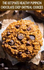 Clean Eating Chewy Pumpkin Pie Chocolate Chip Oatmeal Cookies – these skinny c…