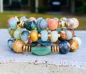 Gemstone Bracelet Set of 3, Boho Jewelry, Chunky Elastic Bracelet, Amazonite Beads, Shabby Chic jewelry, Bridesmaids Gifts, Gift for Her