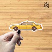 Taxi Cab Vinyl Sticker, Best Friend Gift, Laptop Decals, Decal, Macbook Decal, Stickers Macbook Pro