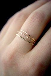 Mixed texture gold stacking ring set, gold stacking ring, ring set, gold fill set, delicate gold ring, lined ring set, rotating ring, set of 3