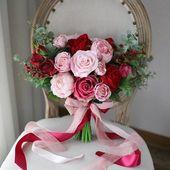 Burgunder Hochzeitsstrauß, Brautstrauß Paket, Burgunder und erröten Hochzeitsblumen, Seidenstrauß,   – Products