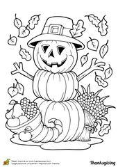 Coloriage thanksgiving decoration et citrouille