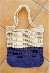 Einkaufsnetz Lila-Weiß mit kleinen Löchern (Oval) ★kostenlose Anleitung★