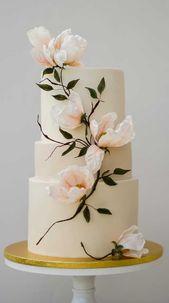 schöne Hochzeitstorte Designs, bemalte Hochzeitstorte, einzigartige Hochzeitstorten, pret …   – cake