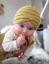 Stricken Sie Baby Turban Hut mit kostenlosem Muster