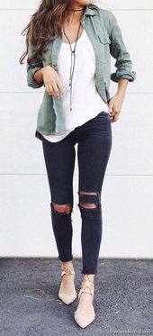 olive green ripped jeans