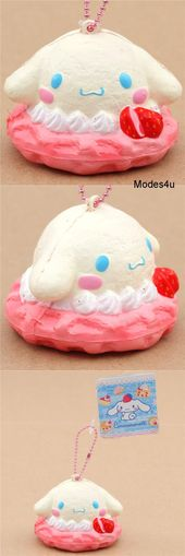 pink light cream Cinnamoroll waffle ice cream squishy charm for phone or bag