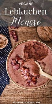 Vegan gingerbread mousse with caramelized red wine nuts