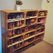 Schuhregal aus Apfelkisten #shoes #Schuhregal #Wei…