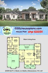 Texas Ranch Home Plan chp-60091 has 2330 sq. ft., 3 Bedrooms, 2.5 Baths and a Covered Rear Porch