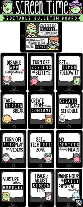 Digital Citizenship Bulletin Board: Screen Time Tips