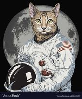 Hand gezeichnete lustige Hipster Katze Astronaut illu Vector Image, #Aff, #funny, #hipste …