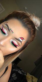 36 Christmas Day Makeup Looks to Try This Season; Christmas makeup ideas; Christ…