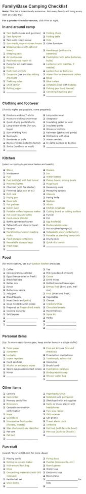 50 Summer Camping Essentials Camping checklist, Camping and - camping checklist template