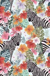 Zebras and Flowers – Seamless Vector Pattern (Art Prints, Wood & Metal Signs, Canvas, Tote Bag, Towe  – Products