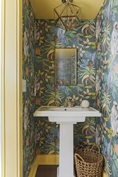 Powder Room with Cole & Son Wallpaper