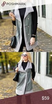MARCY Gray Vegan Leather Vest This vegan leather vest with gray trimmed detail i…