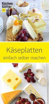 Leckere Kreationen aus Käsespezialitäten – schön auf einem Teller oder …   – Fingerfood für die Party