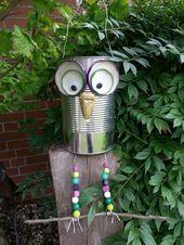 Eule aus Konservendose – niedliche Garten-Deko – #aus #Eule #GartenDeko #Konserv…